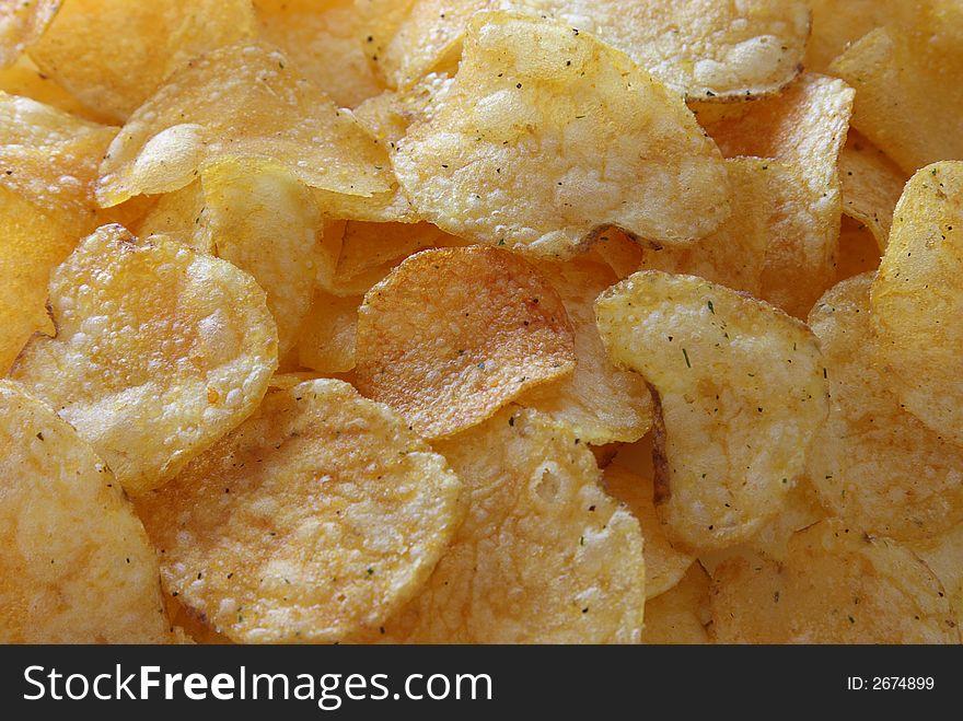 Golden potato chips