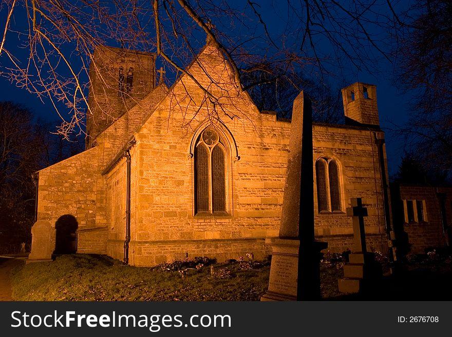 Old English Church at Dusk