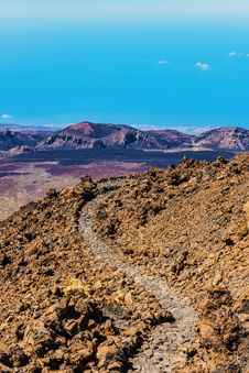 Landscape Route On Mount Teide Royalty Free Stock Photo