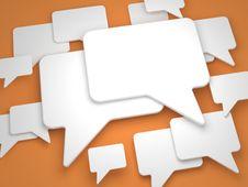 Free Blank Speech Bubble On Orange Background. Stock Image - 26705001