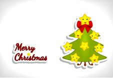 Cartoon Christmas Tree With Funny Stars Stock Photos