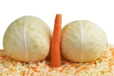 Free White Cabbage And Carrots. Royalty Free Stock Photo - 26708405