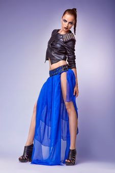 Free Portrait Of Young Modern Female In Blue Fashion Go Royalty Free Stock Photos - 26708588