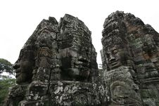 Free Famous Stone Faces In Angkor Royalty Free Stock Image - 26709006