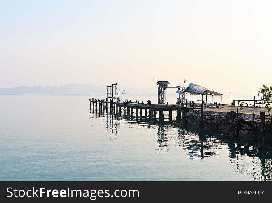 Empty ferry pier.
