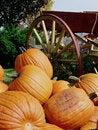 Free Pumpkins Piled By Wagon Wheel Stock Photo - 26710160