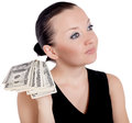 Free Pretty Girl Giving Money Isolated Stock Image - 26718551