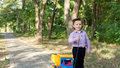 Free Little Boy Pulling A Toy Truck Royalty Free Stock Images - 26718619