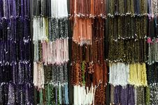 Colorful Necklaces On A Wall Stock Photo