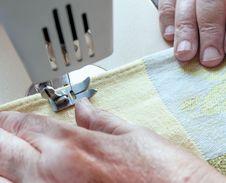 Free An Elderly Woman Sew On A Typewriter Stock Photo - 26718160