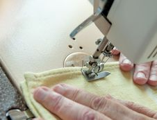 Free An Elderly Woman Sew On A Typewriter Stock Photography - 26718172
