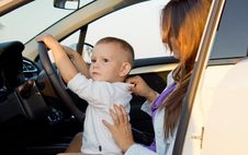 Free Small Boy Pretending To Drive Stock Images - 26718594