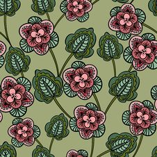 Free Seamless Background With Pink Flowers Stock Photo - 26718760