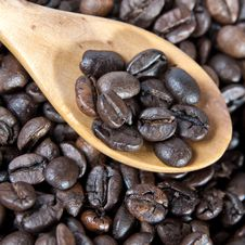 Coffee Beans With Wooden Spoon Close-up Stock Photography
