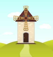 Free Vector Summer Landscape With Mill On Hill Royalty Free Stock Photo - 26722135