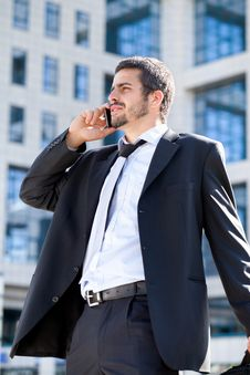 Businessman On A Phone Royalty Free Stock Photos
