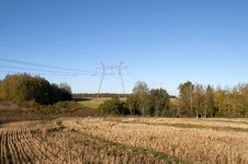 Free Country Landscape With High-voltage Line Stock Photo - 26727120