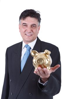 Free Businessman Holding A Piggy Bank Royalty Free Stock Photos - 26728188