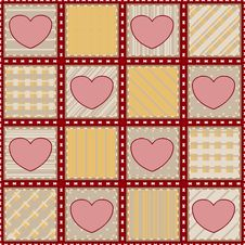 Free Seamless Quilt Texture With Hearts Stock Photo - 26729820