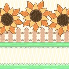 Free Scrapbook Styled Card With Sunflowers Royalty Free Stock Images - 26729849