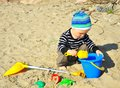 Free Cute Boy Playing On A Beach Royalty Free Stock Photography - 26735837