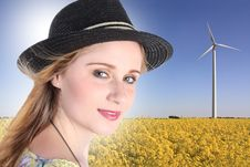 Free Young Woman With Windturbine Royalty Free Stock Photos - 26734828