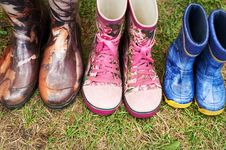 Child And Adult Wellington Boots Stock Photography