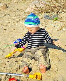 Free Cute Boy Playing On A Beach Stock Photos - 26735783