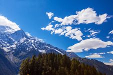 Snow Covered Mountains And Rocky Peaks In The Alps Stock Photography