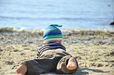 Free Cute Boy Playing On A Beach Stock Photos - 26736003