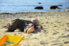 Free Cute Boy Playing On A Beach Royalty Free Stock Photo - 26736095