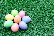 Free Colorful Easter Eggs On The Soccer Field Grass Royalty Free Stock Photo - 26736945