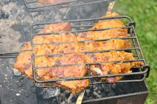 Tasty Grill Kebab On A Charcoal Royalty Free Stock Photo