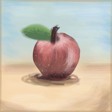 Free Painterly Apple, Freehand Drawing Linear Style, Stock Images - 26737414
