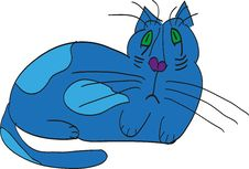 Sad Blue Cat Stock Photography