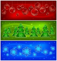 Free Background With Baubles, Trees, Snowflakes Royalty Free Stock Image - 26739116