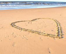 Free Heart Drawn In A Sand On A Beach And Sea Royalty Free Stock Photo - 26739345