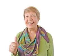 Free Smiling Woman In Green Showing Thumb Up Stock Photo - 26739580