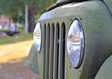 Headlights And Grille On An Old Car Royalty Free Stock Images