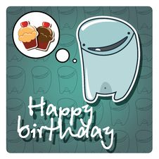 Free Monster Happy Birthday Card Stock Images - 26742694