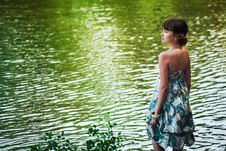 Free Girl Staying By A Lake Stock Photos - 26747533