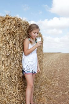 Free Girl With A Glass Of Milk Stock Image - 26753711