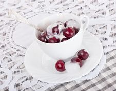 Free Cherry With Ice Cream Stock Photography - 26754872
