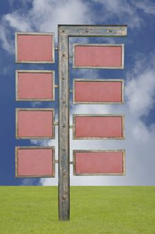 Blank Signpost With 8 Signs