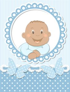 Free Happy African Baby Boy Scrapbook Blue Frame Royalty Free Stock Images - 26762499