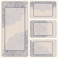 Free Vector Vintage Invitation Card Set. Royalty Free Stock Photos - 26765768