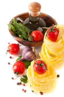 Free Italian Pasta, Tomatoes And Ingredients Royalty Free Stock Photo - 26765795