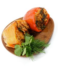 Stuffed Red And Yellow Bell Peppers Stock Photos