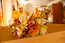 Bride And Groom Table With Bride S Bouquet Stock Photo