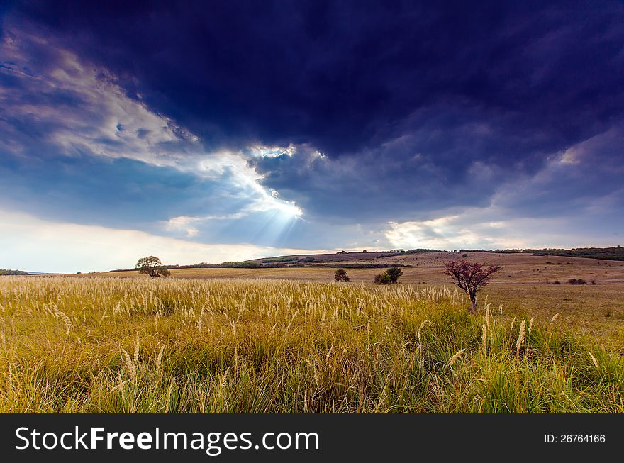 Autumn rural scenery with stormy sky